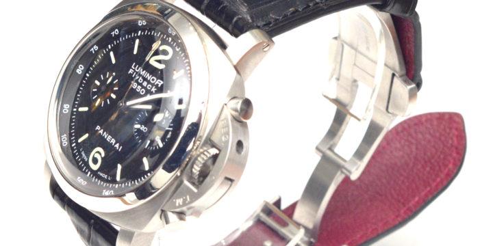 パネライ ルミノール FLYBACK 1950(PANERAI LUMINOR FLYBACK 1950) 素材:クロコダイル カラー:マット/黒 時計ベルトオーダー