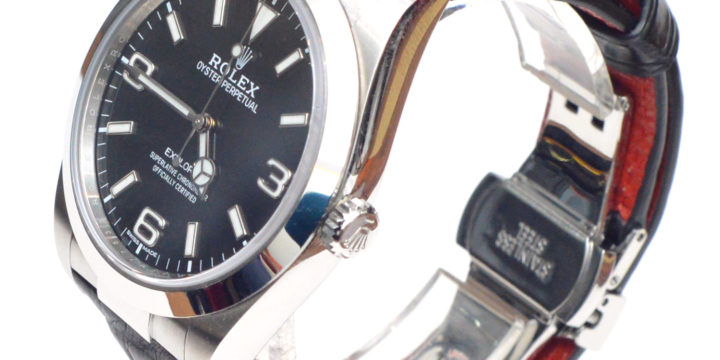 ROLEX EXPLORERⅠ(ロレックス エクスプローラーⅠ)素材:クロコダイル カラー:マット/黒