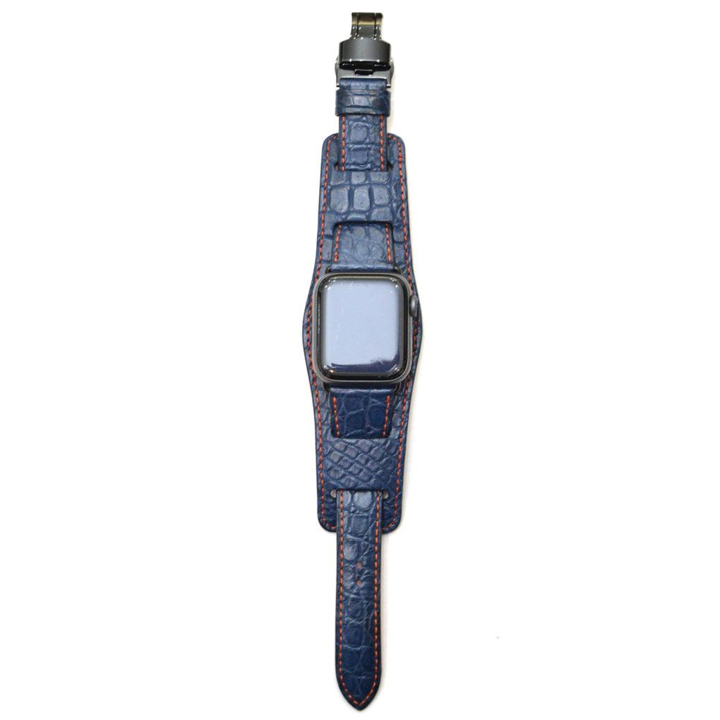 APPLE WATCH 40㎜(アップルウォッチ40㎜)&ウォッチプロテクター(背当て) 素材:クロコダイルカラー:マット/ロイヤルブルー