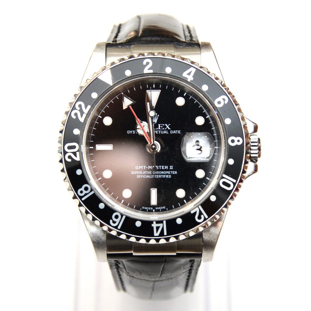 ROLEX GMTマスター2(ロレックス GMTマスター2)素材:クロコダイル カラー:マット/黒