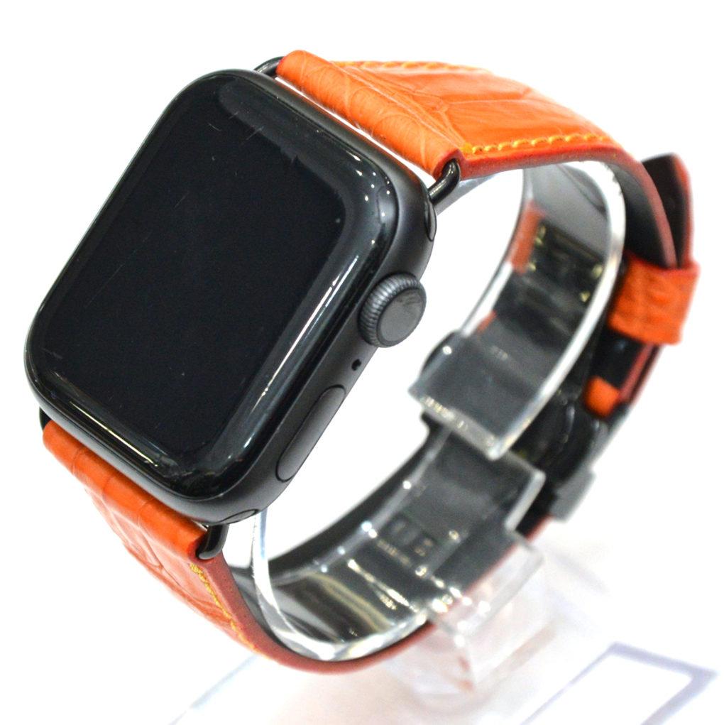 APPLE WATCH(アップルウォッチ) 素材:クロコダイル カラー:マット/オレンジ